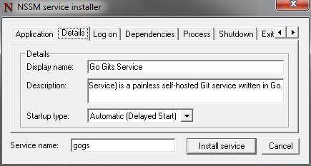 Run As Windows Service - Gogs